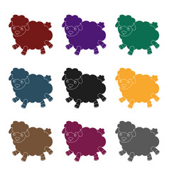 toy sheep icon in black style isolated on white vector image vector image