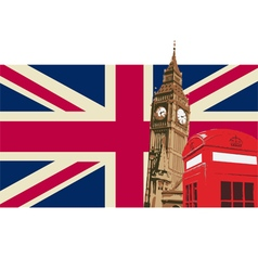 Uk with big ben flag vector