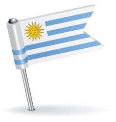 Uruguay pin icon flag vector image vector image
