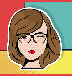 Young woman with glasses wink pop art comic vector