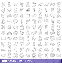 100 smart tv icons set outline style vector