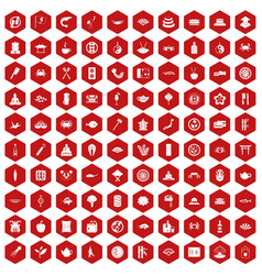 100 sushi bar icons hexagon red vector