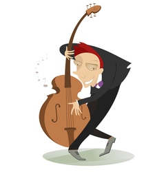 Smiling cellist vector image