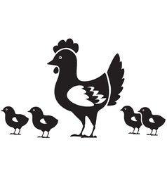 Hen with chicks vector