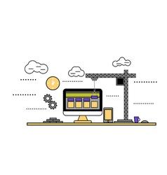 flat design construction web site vector image
