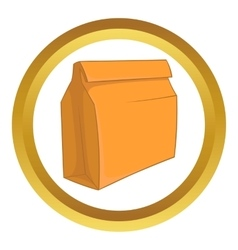 Paper bag with lunch icon vector