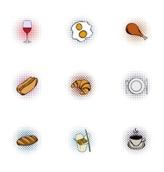 Quick snack icons set pop-art style vector