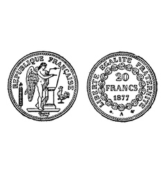 Gold francs coins engraving vector image