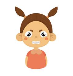 Angry little girl clenching teeth flat cartoon vector