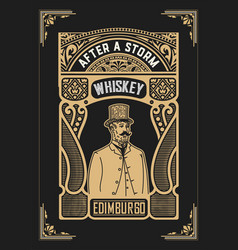vintage design for labels suitable for whiskey or vector image