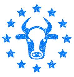 starred bull icon grunge watermark vector image