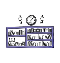 A view of bookshelf vector image