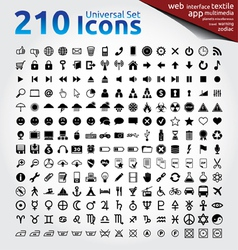 210 icons universal set vector