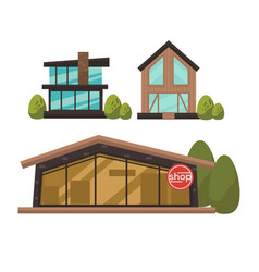 Three fashionable shops with french windows vector