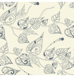 Floral pattern with curly leaves vector