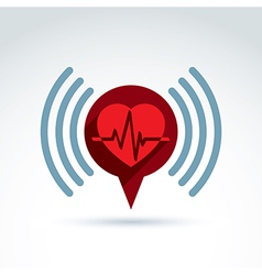 Cardiology cardiogram heart beat information icon vector