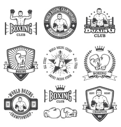 Set of vintage boxing emblems vector