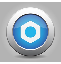 Blue metal button with nut vector