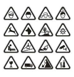 Warning safety signs set black vector