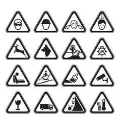 warning safety signs set black vector image