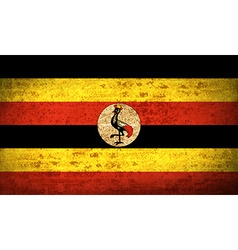 Flags uganda with dirty paper texture vector