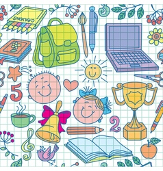 Exercise book drawings seamless pattern color vector