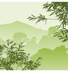 green forest landscape vector image