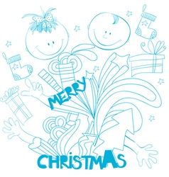 doodle style christmas background vector image
