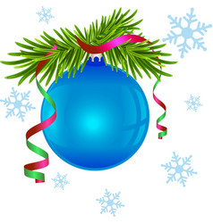 Fir branch and blue christmas ball vector