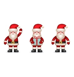 Cartoon santa claus toy character icons set vector