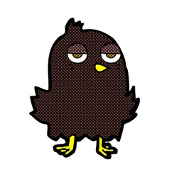 Comic cartoon bored bird vector