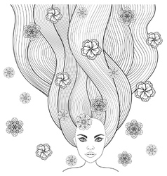 Hand drawn girl like forest fairy with long hair vector