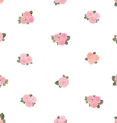 Cute seamless texture with tiny roses on white vector