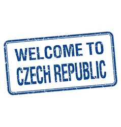 Welcome to czech republic blue grunge square stamp vector