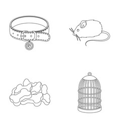 a collar a forage a toy a cage and other vector image vector image