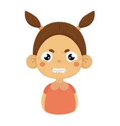 Angry little girl clenching teeth flat cartoon vector
