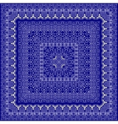 Blue bandanna with white ornament vector image