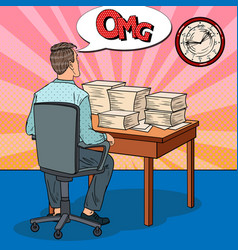Busy office worker with piles of papers pop art vector
