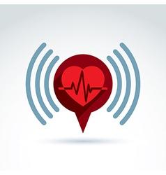 Cardiology cardiogram heart beat information icon vector