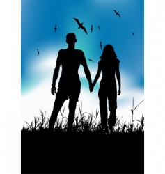 couple and landscape vector image
