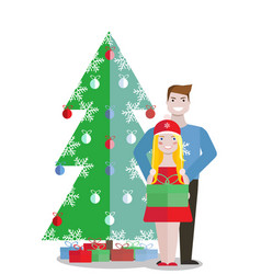 couple with green gift box on white background vector image