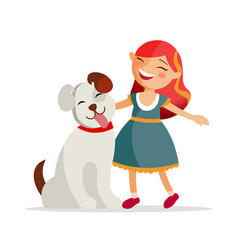 cute girl with a dog are smiling and hugging vector image