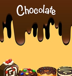 Different dessert with chocolate vector image