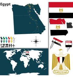 Egypt map world vector image