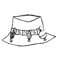 Figure fishing peasant hat object to warker vector