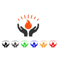 Fire care hands icon vector