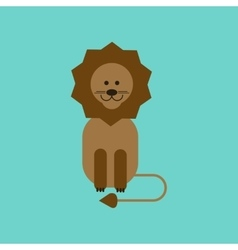Flat icon on background cartoon lion vector