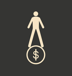 Flat in black and white man stands on coin vector