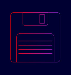 Floppy disk sign line icon with gradient vector