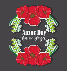 Flowers and branches design to anzac day vector